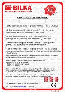 Bilka certificat garantie 10 ani