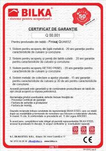 Bilka certificat garantie 20 ani