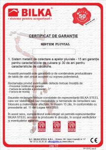 Bilka certificat garantie 30 ani